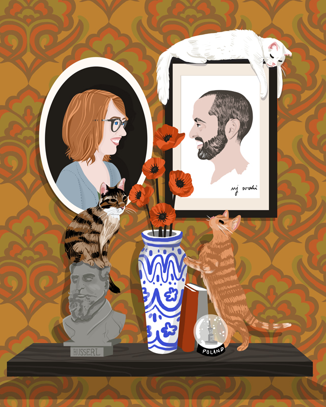 Brittany + H.A.   | Brittany and her partner H.A. and their three cats. The scene was inspired by personal details Brittany's sister shared with me when commissioning their portraits, including H.A.'s philosophical leanings, the couple's love of travel (including a memorable trip to Poland), and Brittany's appreciation for vintage furnishings. |   Digital drawing, 8x10