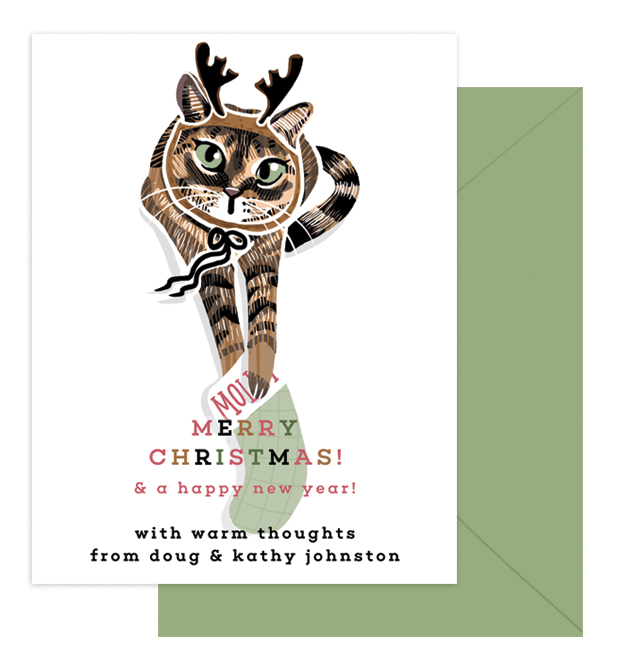 Molly Christmas | A single-sided card mailed with coordinating green envelopes. Features Doug & Kathy's newest family member, a rescue cat named Molly. | Professionally printed on linen-textured card stock, 4.25x5.5
