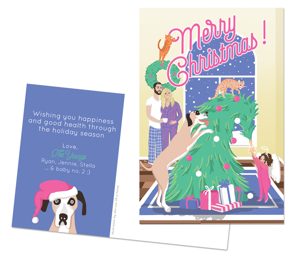 The Youngs | With two cats, a dog the size of a truck, an energetic toddler, and a new baby on the way, Jennie and Ryan felt that something equal parts festive and chaotic would best represent their family during the holidays. | Professionally offset printed on double-sided 4x6 postcards