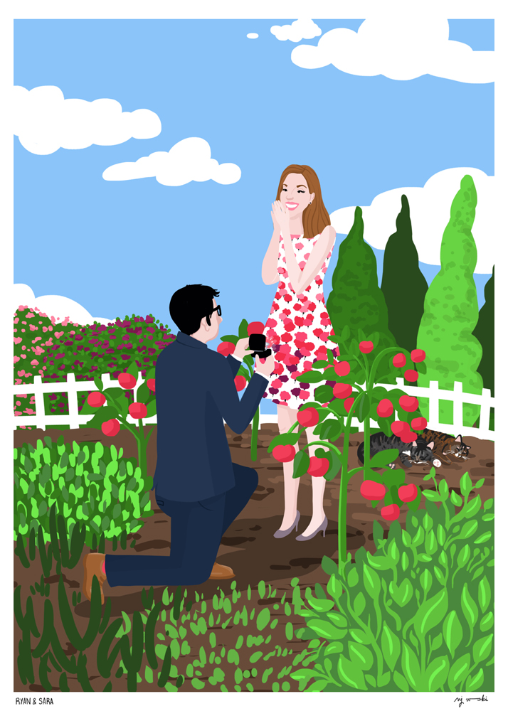Ryan + Sara   | Commissioned as a wedding gift, this portrait shows Ryan proposing to Sara in the couple's backyard garden. |   Digital drawing, 5x7
