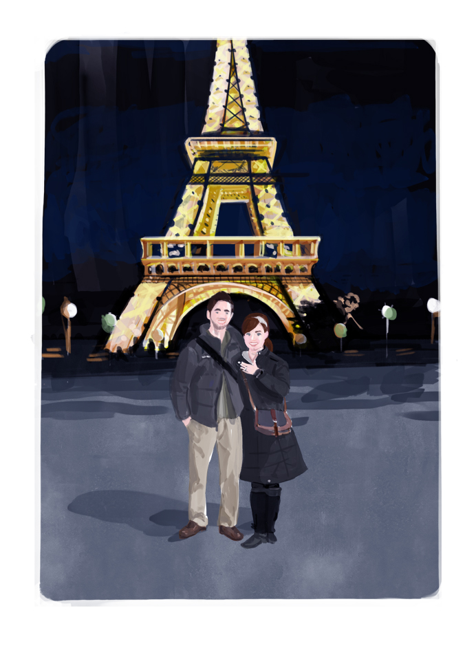Chris + Alecia | Based on a snapshot of the couple in front of the Eiffle Tower, just after they became engaged.  | Digital drawing, 5x7