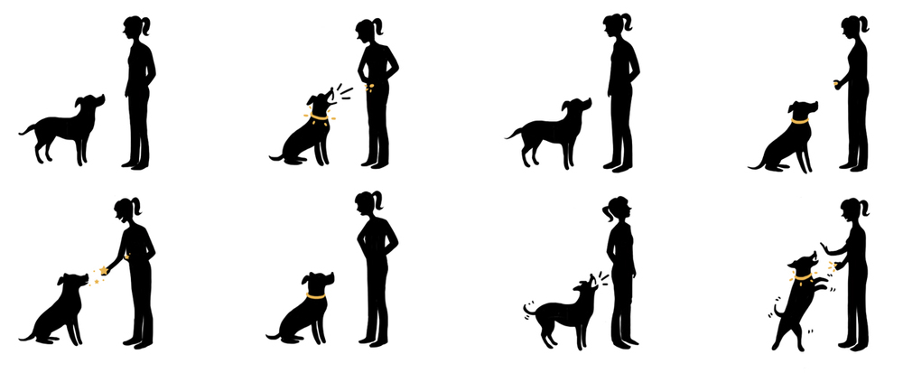 A series of silhouettes illustrating positive and negative reinforcement. Used in client information handouts.