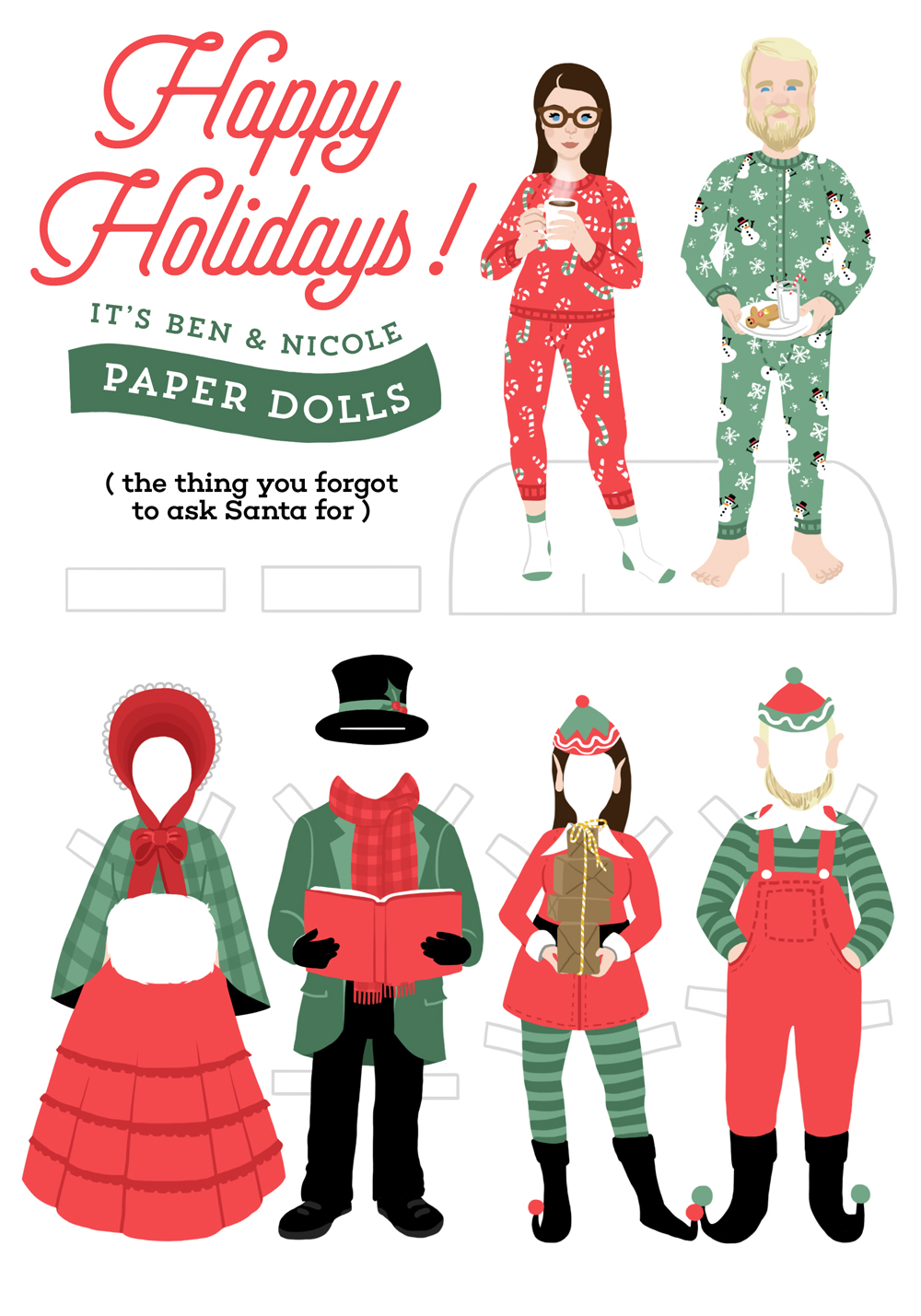 2014: Paper Dolls | This design was, hands down, our most popular Christmas card to date. Paper doll versions of my husband and I filled the front and back of a 5x7 greeting card. A message was handwritten on the inside, and the card could either be displayed with the top portion showing, or cut and assembled.
