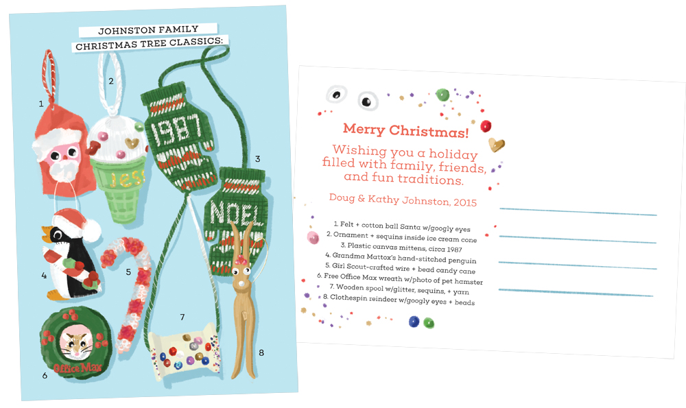 "Johnston Family Christmas Tree Classics | A design for my family's 2015 Christmas card featuring funky handmade ornaments from my youth. The items are each numbered and the back of the postcard features a description of each item including ""4. Grandma Mattox's hand-stitched penguin"" and ""8. Clothespin reindeer w/googly eyes + beads.""  
