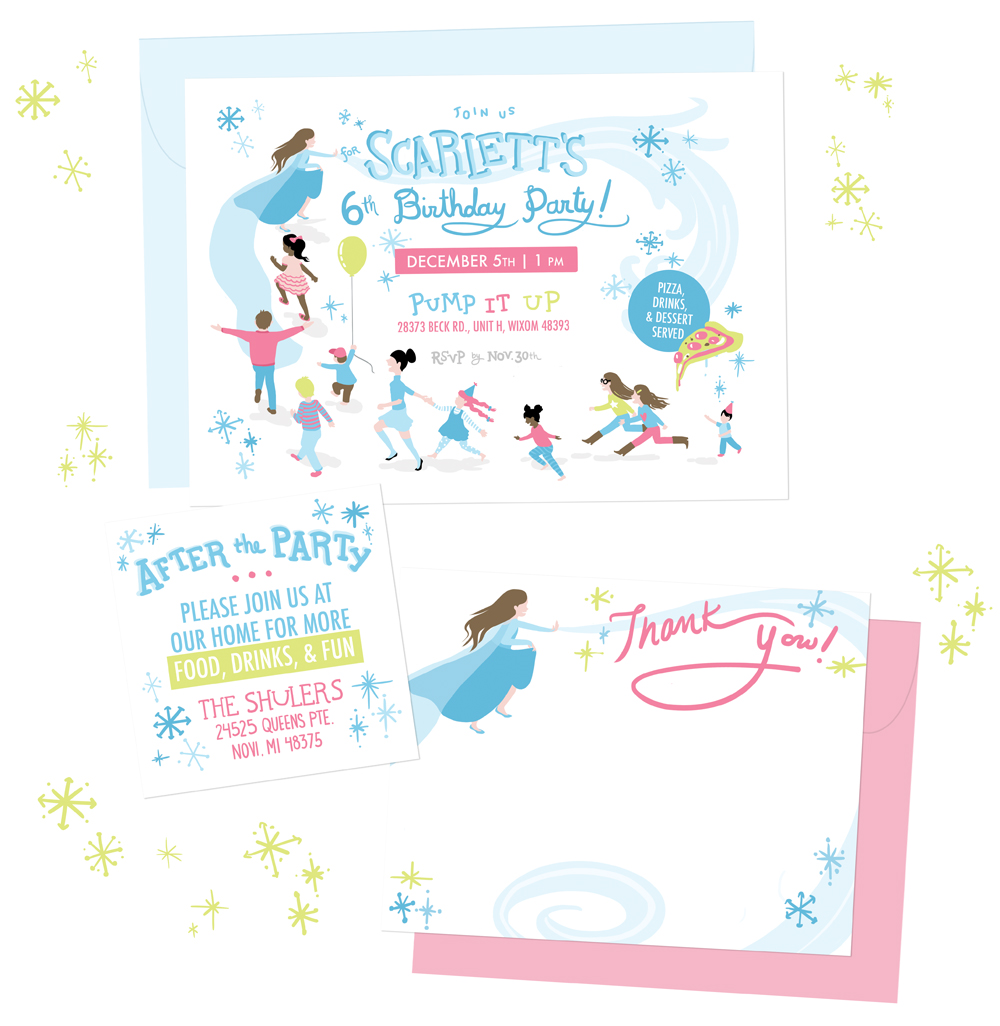 Scarlett's 6th  |  Frozen  themed party invitations  This suite was inspired by Scarlett's love of dress-up and the movie  Frozen.  I wanted to capture some of the exuberance of a children's party with kids running, including some figures modeled after real friends and family. The suite included a party invitation, small info card, and thank you stationery with space for Scarlett to write (and draw). |  professionally offset printed