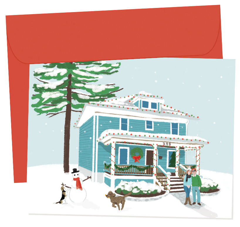 The Ledesmas, 2016 | A folded greeting card of the couple and their dogs in front of their new home. An interior greeting was printed in red, and the couples address and the year were printed on reverse.  A2 greeting cards with interior message, professionally offset printed