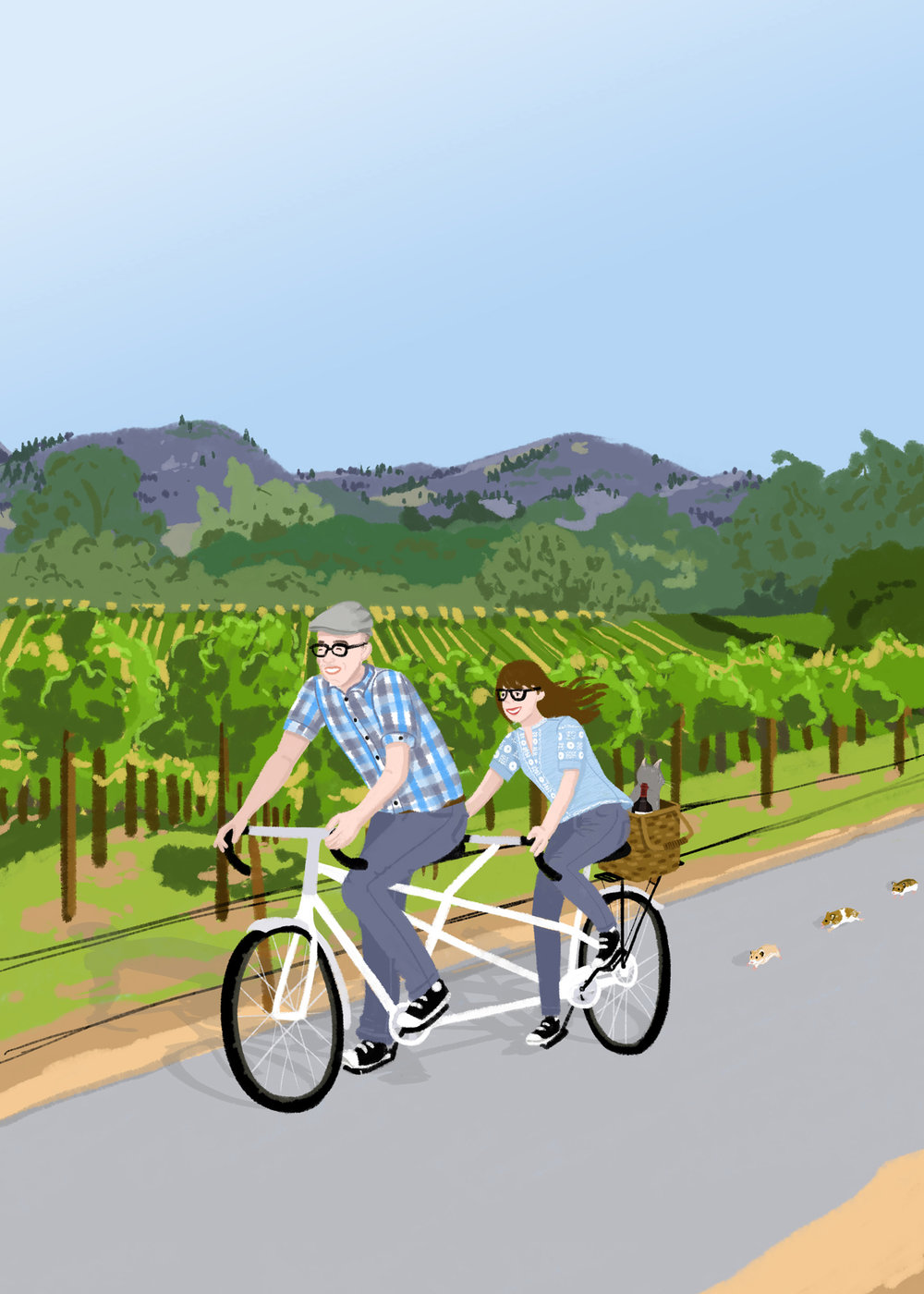 Jennifer + Robert | Jennifer commissioned this portrait of the couple biking through California wine country as a gift to her boyfriend. The couple are serious travelers and cyclists, wanted a casual, fun depiction and so were drawn in street wear on a tandem bicycle with Jennifer's cat Chianti hitching a ride on the back of the bike. The trail of hamsters is a silly inside joke  | Digital drawing, 5x7