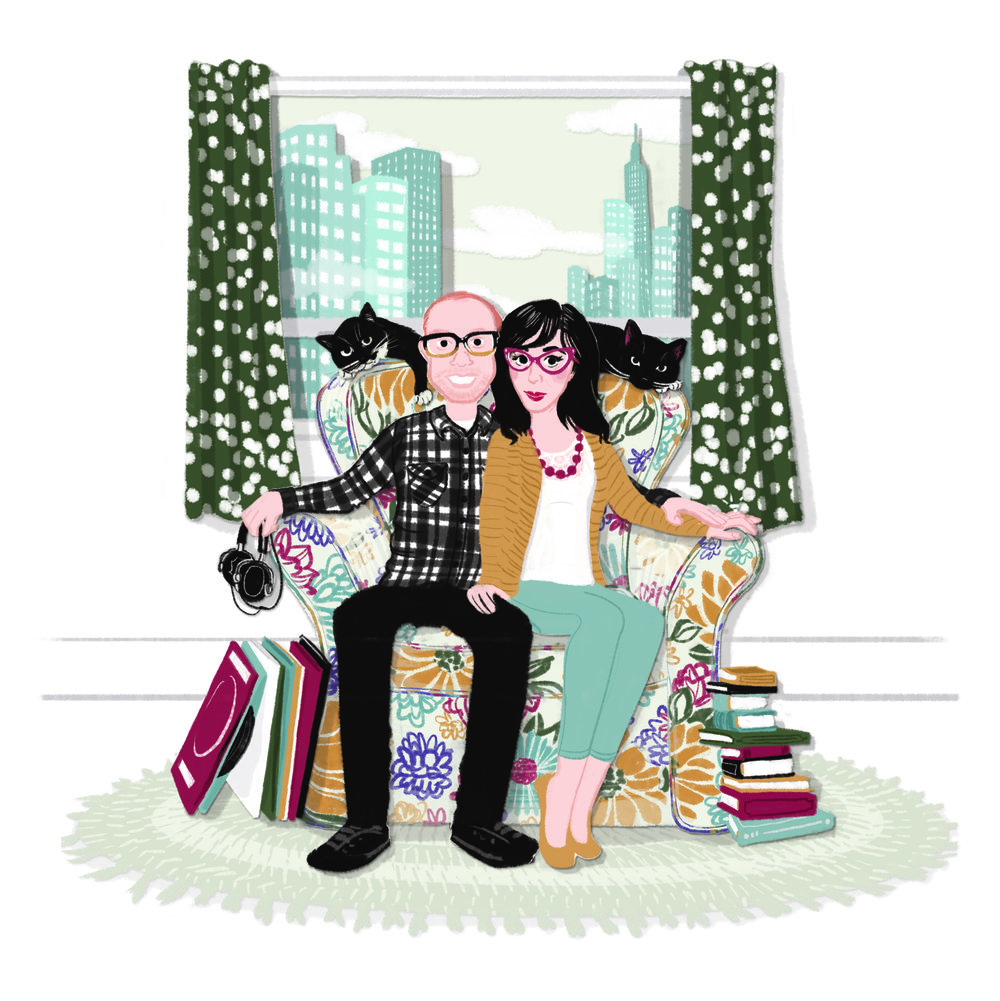 Kathryn + Stephen | Commissioned as a wedding gift, this portrait features the engaged couple and their cats in their Jersey City apartment. | Digital drawing, 10x10