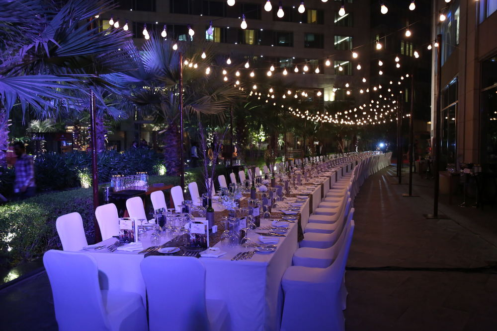 "The out door dining area for Jacob's Creek's ""The Reserve Table with Ben Bryant"" at the JW Marriot, Aerocity, New Delhi"