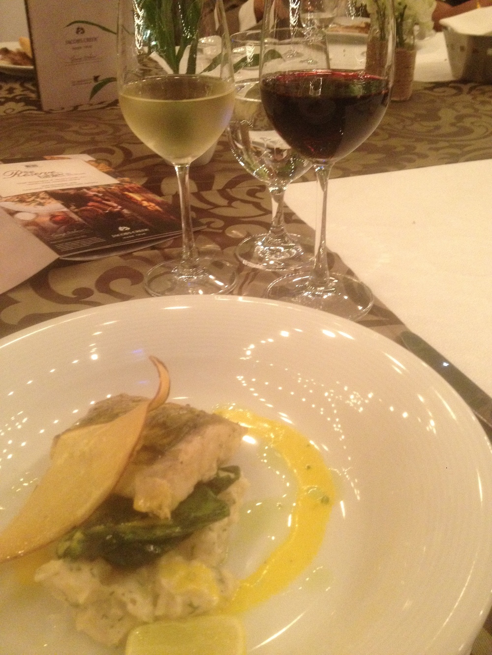 Pan Seared Sea Bass with Reserve Barossa Shiraz and Reserve Adelaide Hills Chardonnay