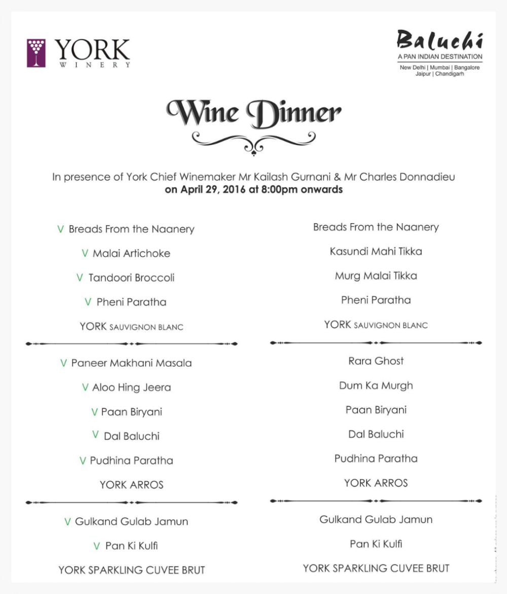 The Menu for the York Vineyards wine dinner at the Lalit, Barakhamba Rd, New Delhi
