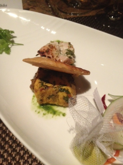 Fish Tikka on the left, Murgh Malai Tikka on the right