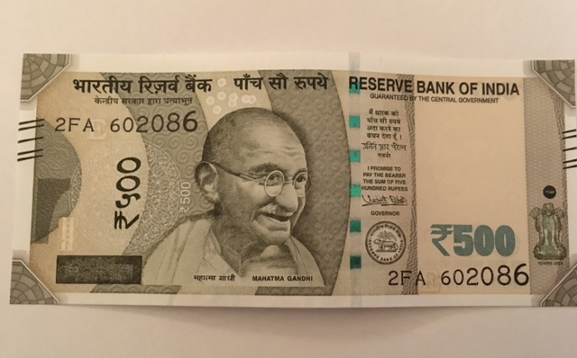 The front of the new Rs 500 note