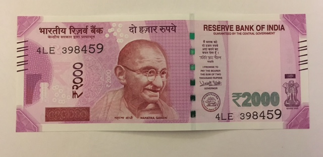 The front of the new Rs 2000 note