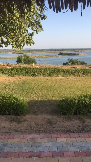 View of the resevoir from our hut at Kutch Safari Lodge