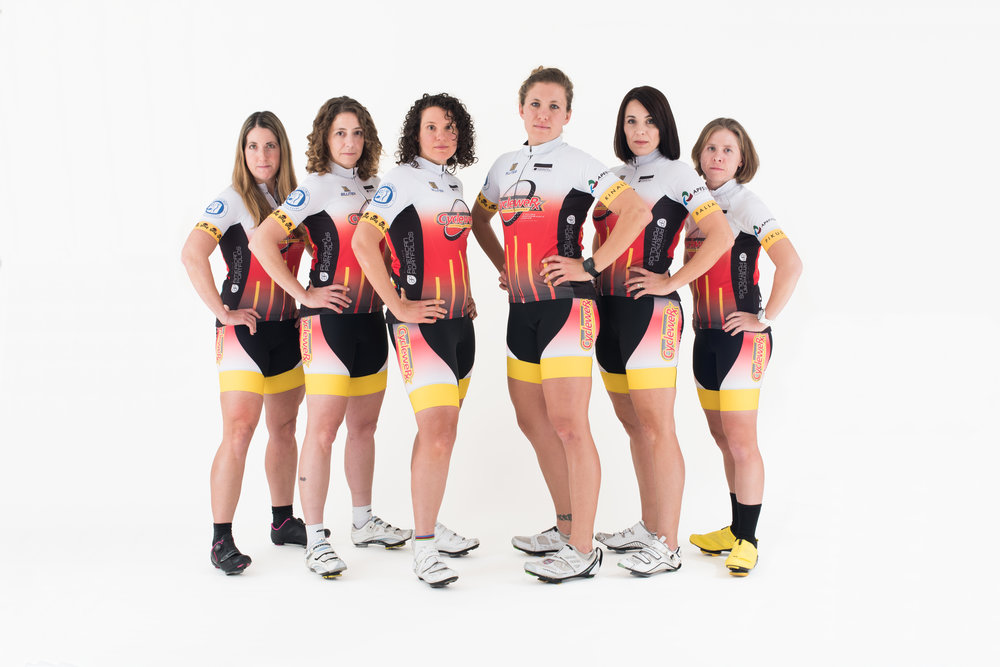 The CycleweRx of Rochester women's cycling team poses for portraits in the RIT studios, on Dec. 14, 2016 in Henrietta, N.Y.