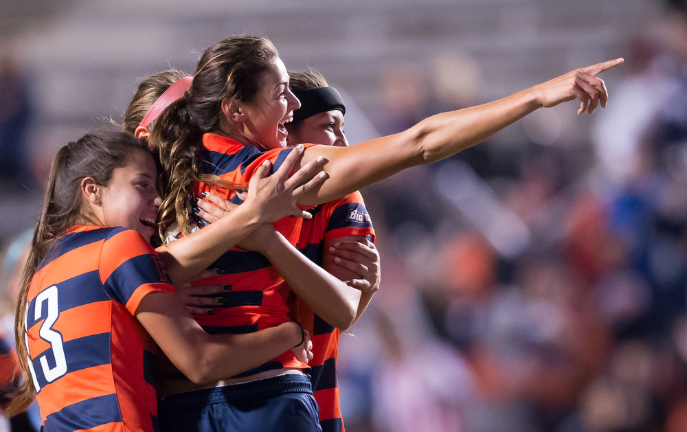 California State Fullerton's Christina Burkenroad celebrates with her teammates after scoring their first goal of their semifinal game against UC Santa Barbara on Nov. 5, 2015 in Fullerton, Calif.