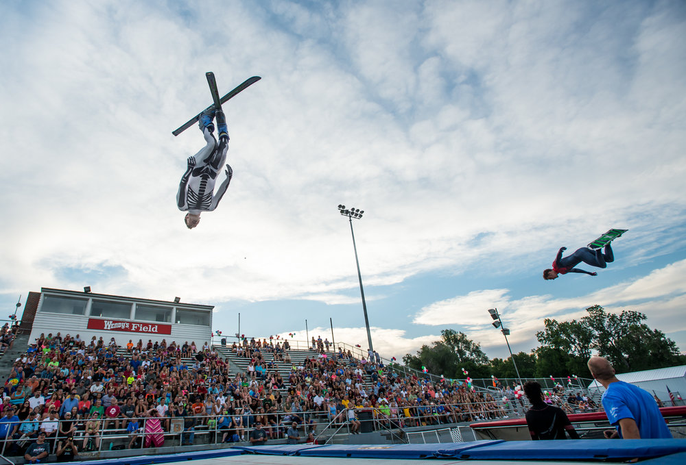Thomas Theobald performs a trick at the opening ceremony for the Big Sky State Games held at Daylis Stadium in Billings, MT on July 14, 2017.