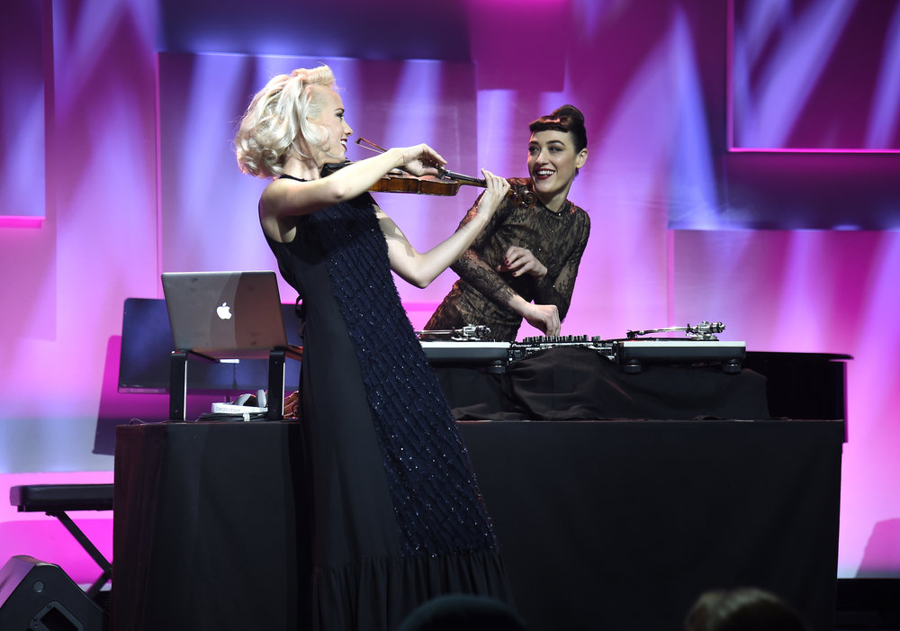 Margot and Mia Moretti perform on stage during the 12th annual UNICEF Snowflake Ball at Cipriani Wall Street on November 29, 2016 in New York City. (Photo by Kevin Mazur/Getty Images for UNICEF)