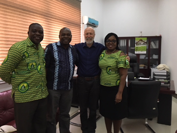 From left: Francis Zotor, UHAS Acting Pro Vice-Chancellor Seth Owusu Agyei, Duncan Saunders, and Dr. Margaret Gyapong, Acting Director Institute of Health Research