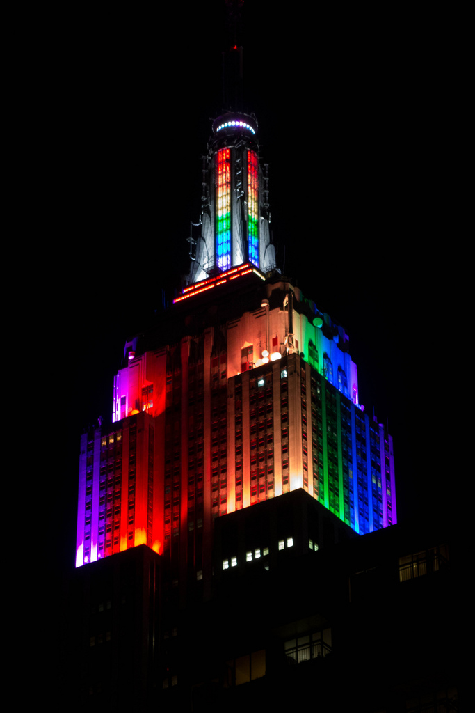 laughingsquid: The Empire State Building Lit Up With Rainbow Colors In Honor of New York City Pride Week