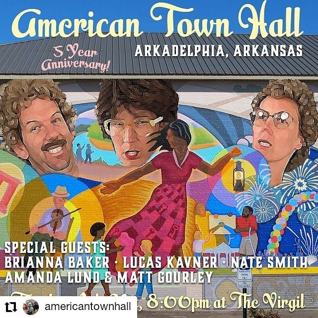 "Doing my favorite live show in LA. Come celebrate 5 damn years of @americantownhall on Tuesday! . #Repost @americantownhall • • • FIVE YEARS of American Town Hall comes to a rousing celebratory show tomorrow night at the Virgil in LA! Tuesday  JULY 31st is @americantownhall 's FIFTH Anniversary! Five years of funny up onstage with Matt, Cass & Mary, and HUNDREDS of insane characters from the funniest folks around! If you've ever seen (or thought of seeing) American Town Hall, come on down to our July show ""in"" Arkadelphia, AK! We'll be joined by Lucas Kavner, Nate Smith, George Basil, Brianna Baker and Amanda Lund & Matt Gourley! 8pm at the Virgil. $5 at the door with a portion of the proceeds to the ACLU!"