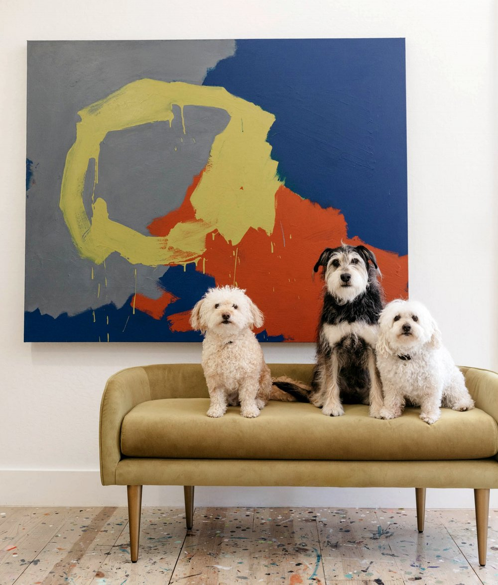 "Left to Right Rosie, Buster and Annie, painting title- ""Every Rosie"""