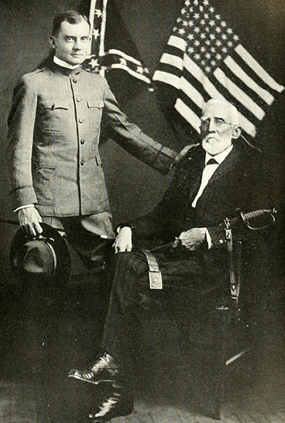 Major George Washington Findlay Harper (sitting) with his son Lieut. James Harper, 1919.