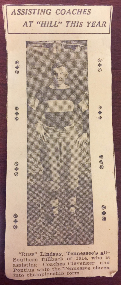 """Russ"" Lindsay, 1914 newspaper clipping"