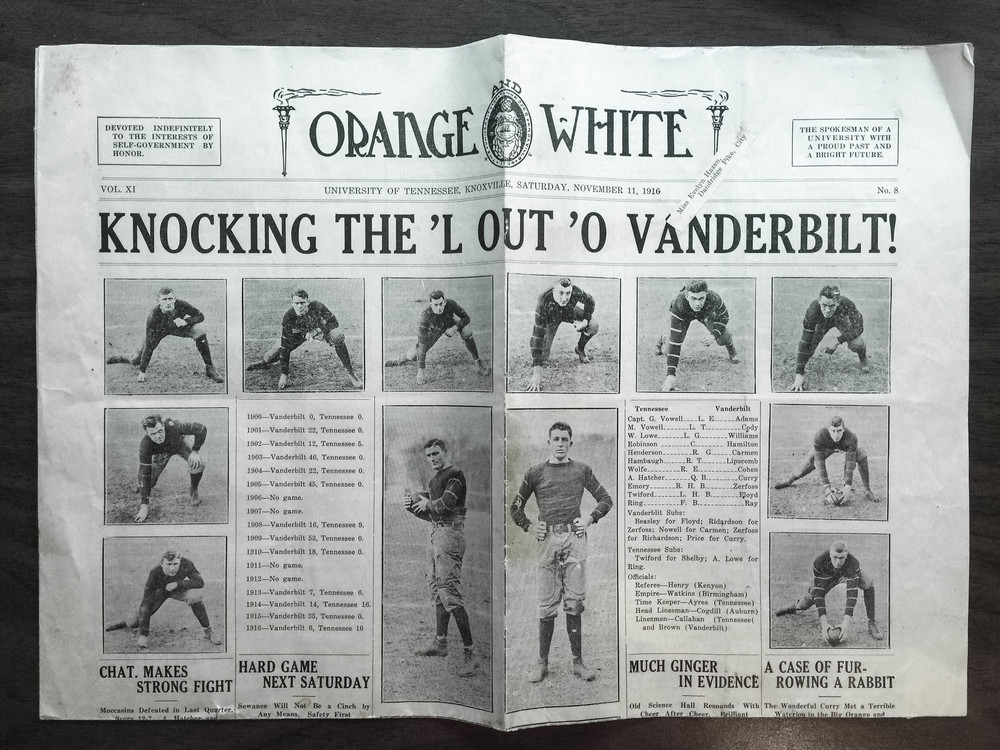 An example of UTK football coverage of the time; Evelyn Hazen's copy of Orange & White, Nov. 11, 1916