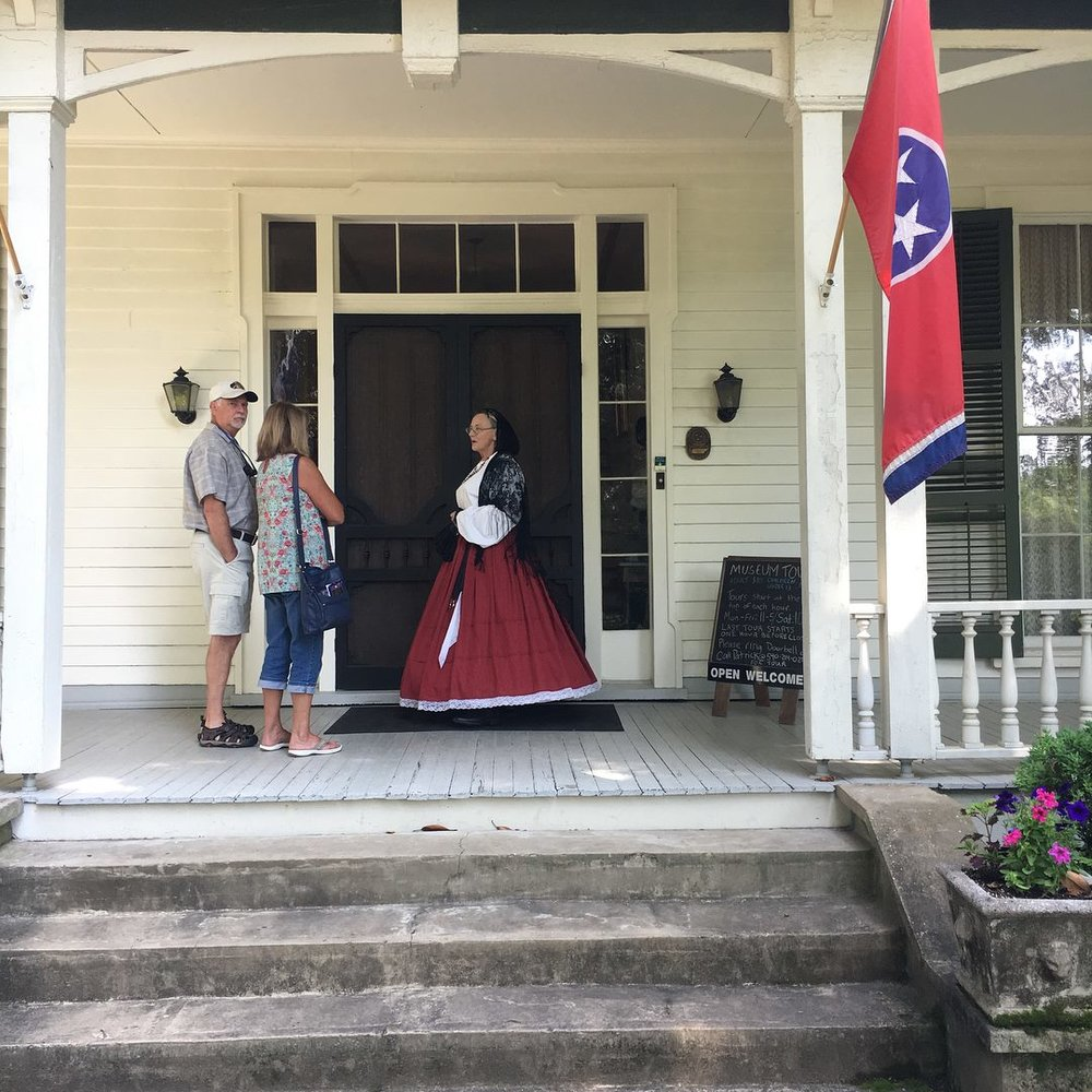 Visitors chat with board member, Karen Peterman, during the 2018 Tennessee Statehood Day event at Mabry-Hazen House.