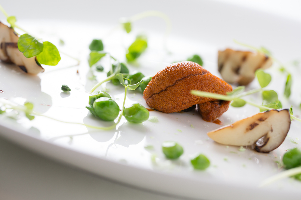 This boldly flavored course had a couple of faces over the Spring of 2015. It began on the thought of balancing the bitterness of coffee together with the sweetness of peas and the salinity of uni. Porcini started popping up around the same time, and the earthy flavor and crisp texture became the bridge that connects and carries the other flavors. We also charred some local ramps and cooked them down into a compote that the uni was then set upon. As coffee was featured on another dish, I transitioned to chicory root reduction (which was used as a coffee replacement in World War 2). Peas show up in three forms: Warmed with mascarpone, freeze dried, and as tendrils drizzled with a small amount of the pungent argan oil. The uni itself, which is only available if the harvesting conditions are right, was successfully substituted out with some barely cooked first of the spring wild salmon when it was unavailable.