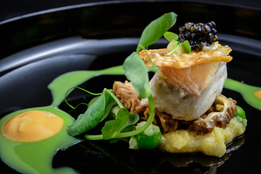 Black Cod with Pea, Sea Urchin, Morel. Chicken Skin & Caviar