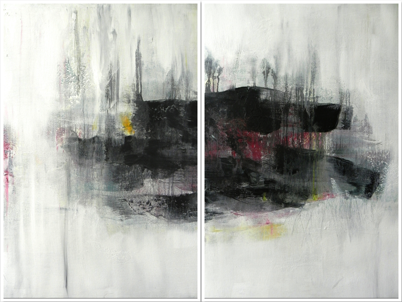 "TENEBRISM 1 & 2, 2014. 24"" X 18"". Mixed Media on Canvas. Copyright © Karen Santos 2014."