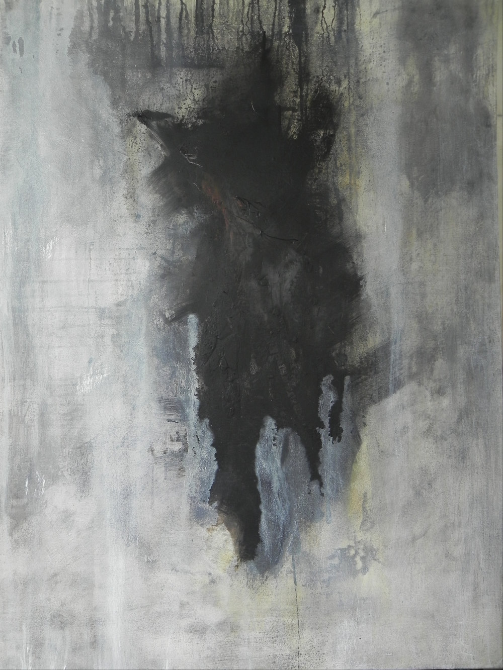 "SHADOW, 2014. 40"" X 30"". Mixed Media on Canvas. Copyright © Karen Santos 2014."
