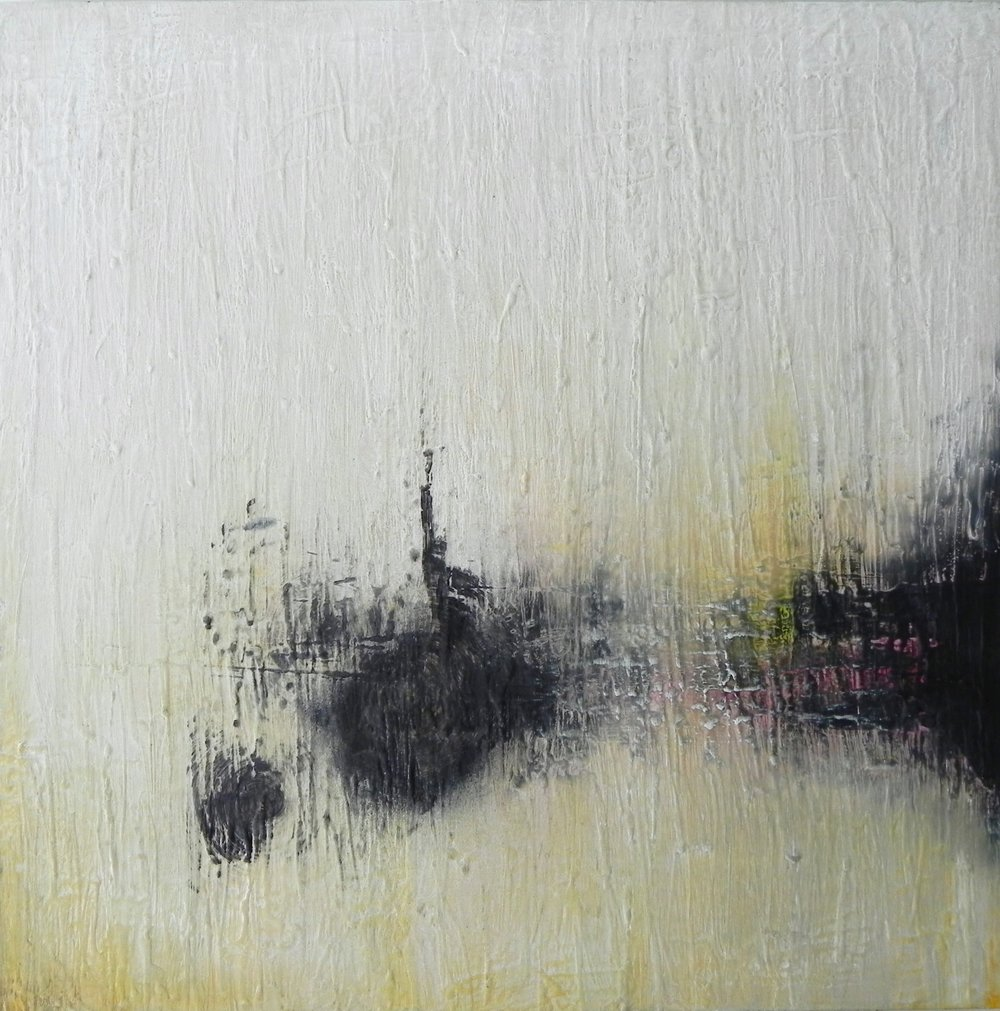 "SONAR, 2015. 24"" X 24"". Wax and Oil on Cradled Wood Panel.Copyright © Karen Santos 2015."