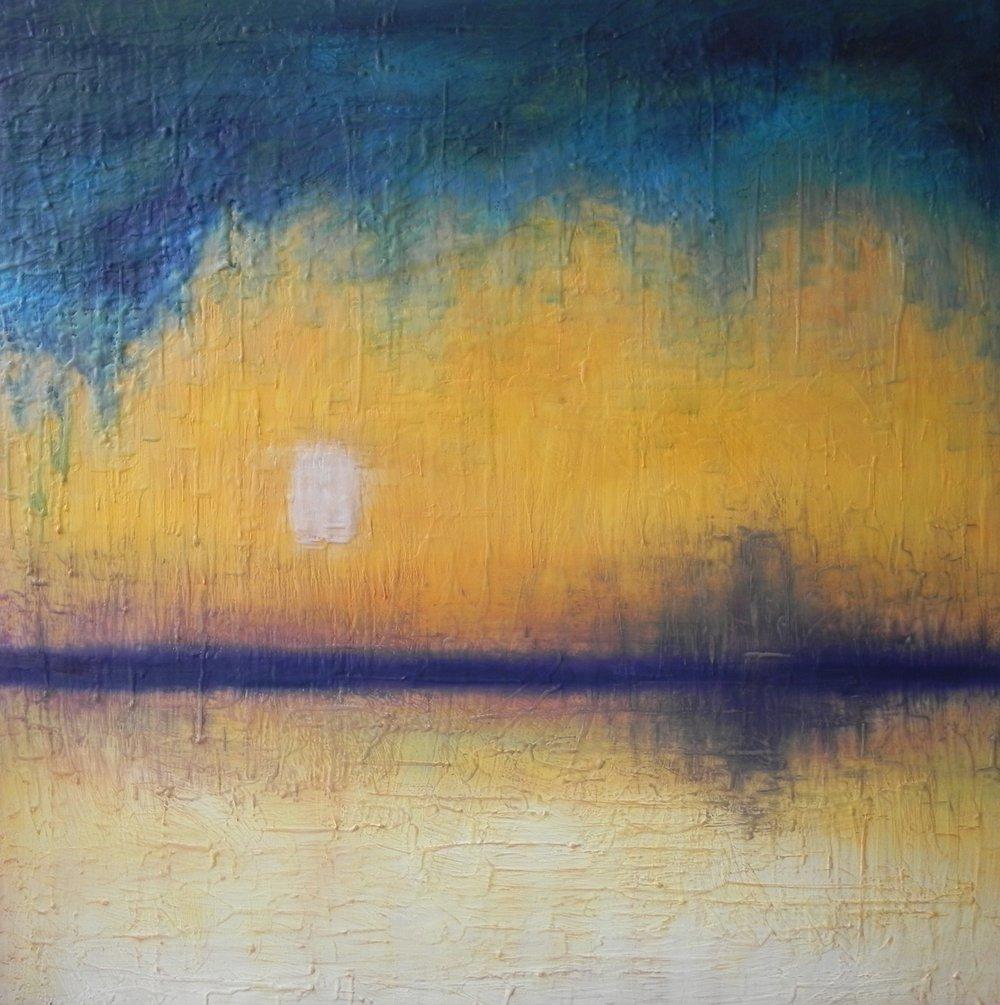 """STARRY NIGHT, 2015. 30"""" x 30"""". Cradled Wood Panel. Oil and Wax. Copyright © Karen Santos 2015."""