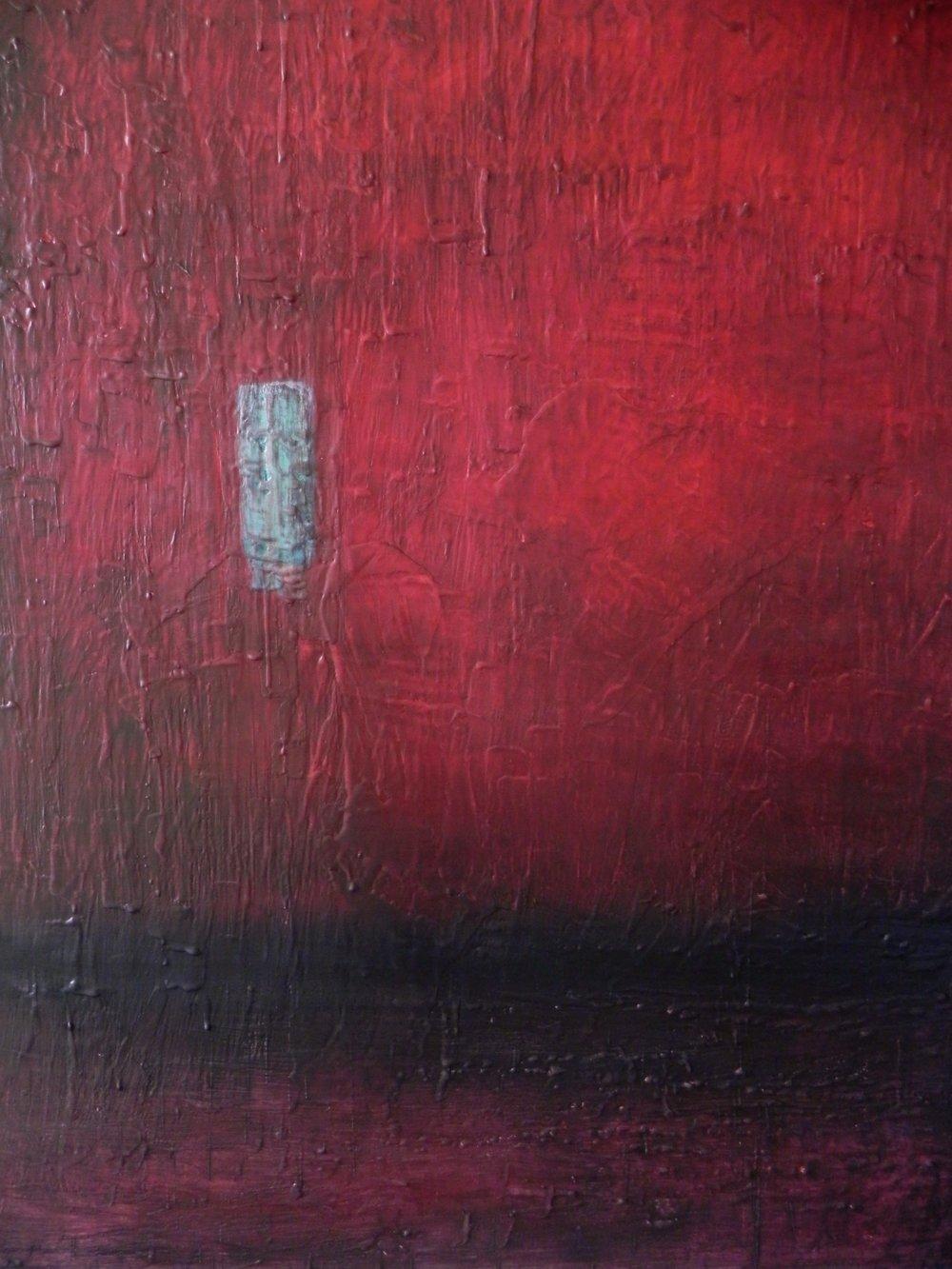 "BLAZING SKYLINE, 2014. 30"" x 24"". Cradled Wood Panel. Oil and Wax. Copyright © Karen Santos 2014."