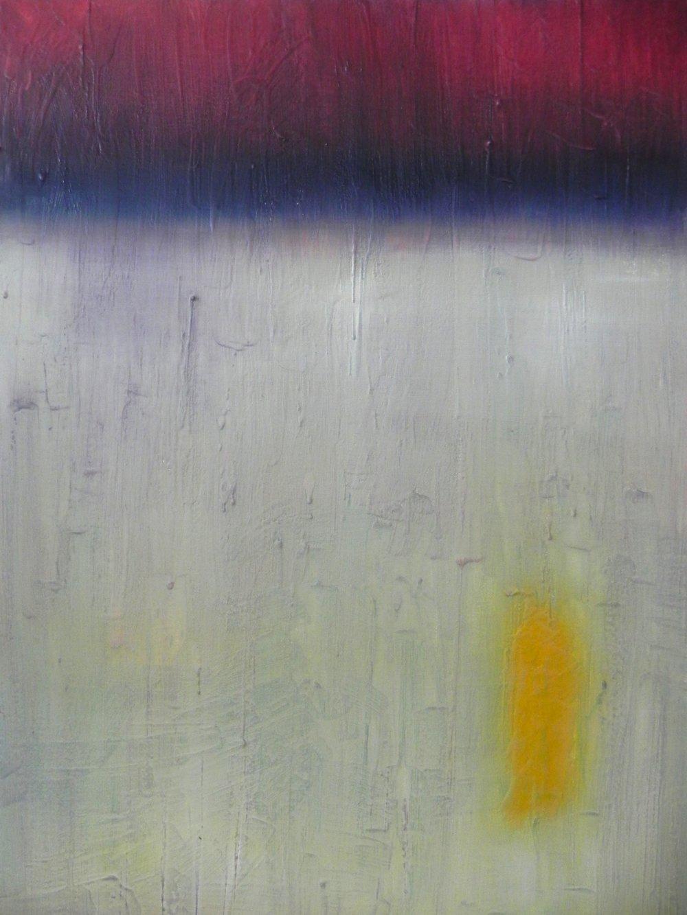 "NOISELESSNESS, 2014. 24"" x 18"". Cradled Wood Panel. Oil and Wax. Copyright © Karen Santos 2014."