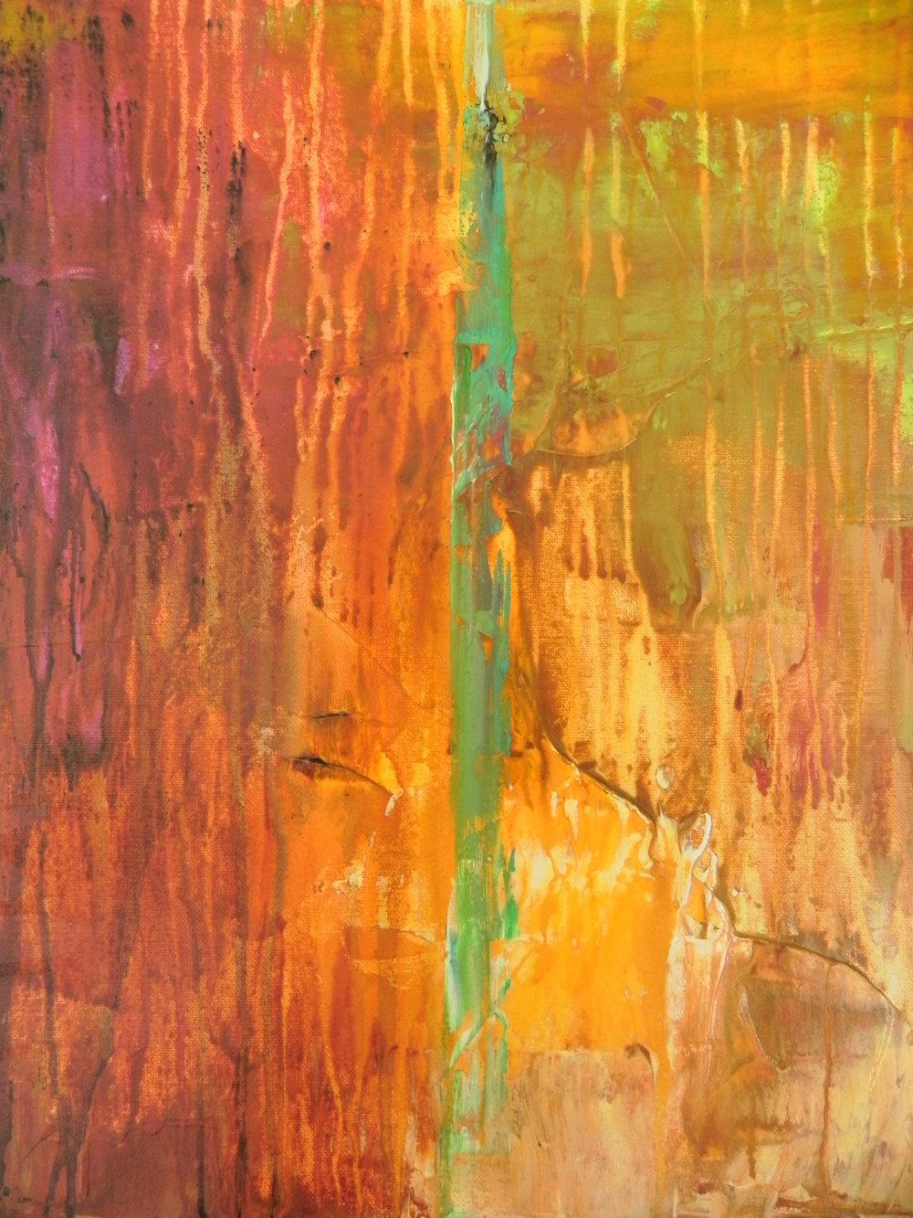"""COLLISION, 2013. 20"""" x 16"""". Canvas. Acrylic. Copyright © Karen Santos 2013. SOLD."""