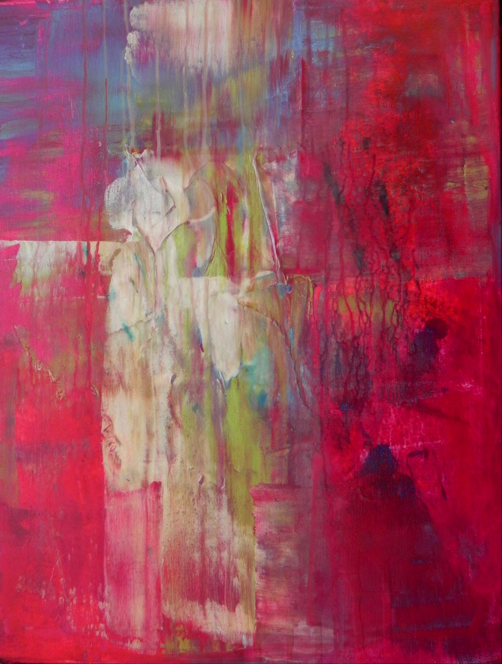 """PAMINA WAITING, 2013. 20"""" x 16"""". Canvas. Acrylic. Copyright © Karen Santos 2013. SOLD."""