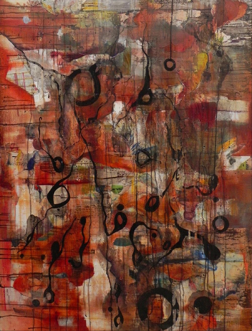 "TUMULTUOUS, 2008. 50"" x 38"". Canvas. Mixed Media. Copyright © Karen Santos 2013. SOLD."