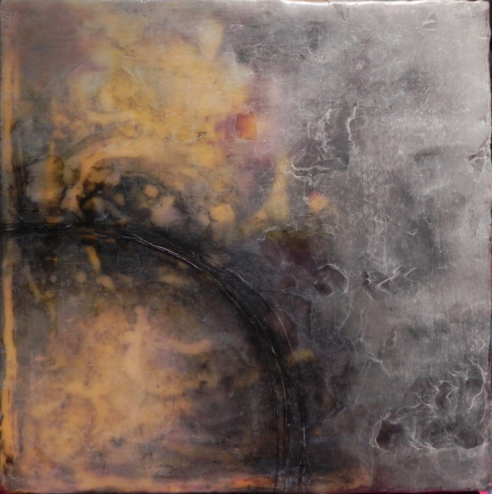 "DYING SUN, 2016. 10"" x 00"". Cradled Wood Panel. Wax and Oil. Copyright © Karen Santos 2016. SOLD."