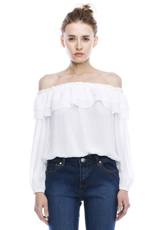 dd7ff8c88a9b Ruffled Off Shoulder Top Blouse White Or Dusty Pink — SKAIRA