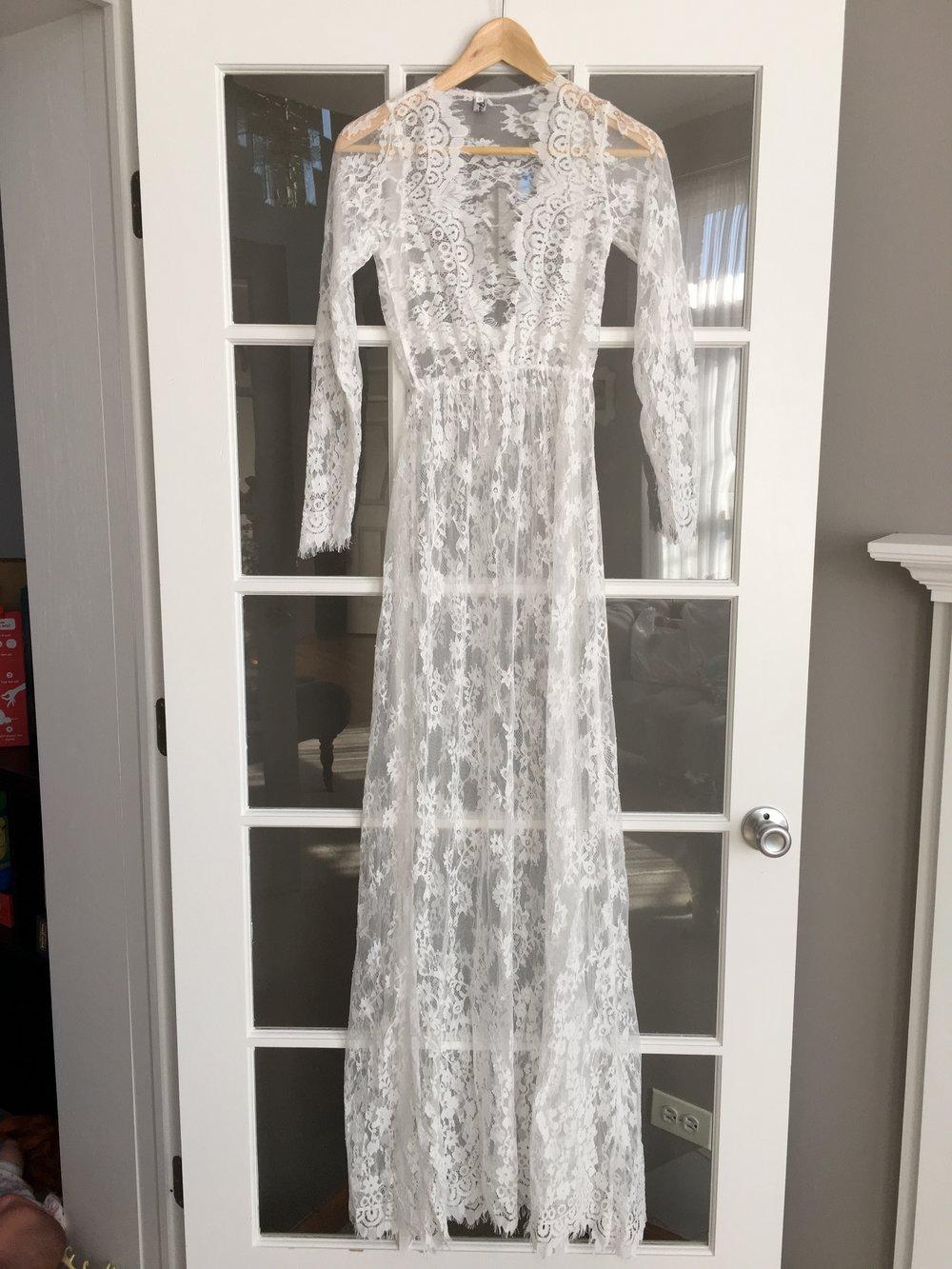 7f0ea7bcee8e6 White Lace Maternity Pregnancy Dress For Photoshoot Milk Bath Dress — SKAIRA