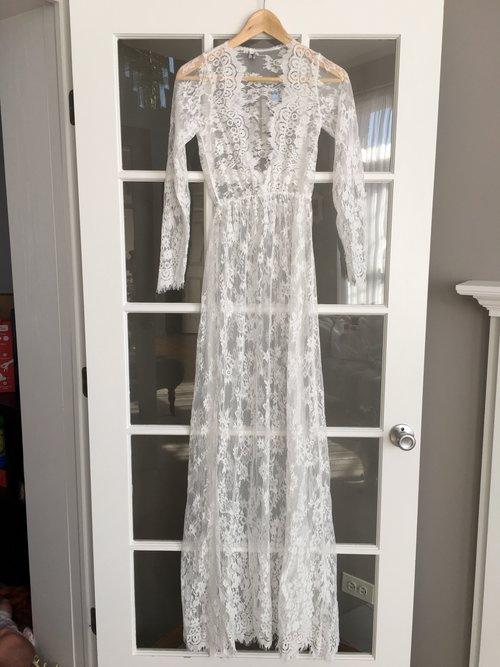 White Lace Maternity Pregnancy Dress For Photoshoot Milk Bath Dress ...