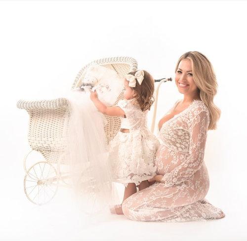 dc3cb725cc03 White Lace Maternity Pregnancy Dress For Photoshoot Milk Bath Dress ...