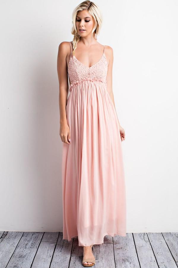 Peach Color Open Back Dress