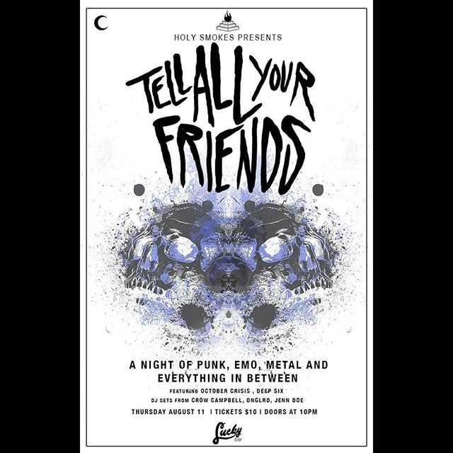 ** THIS THURSDAY** TELL ALL YOUR FRIENDS is BACK!  @luckybaryyj #yyjevents #yyjmusic #tellallyourfriends #luckybar #emo #metal #punk #scene #everything #inbetween #takingbacksunday #hearts #skulls #party #beer #nostalgia