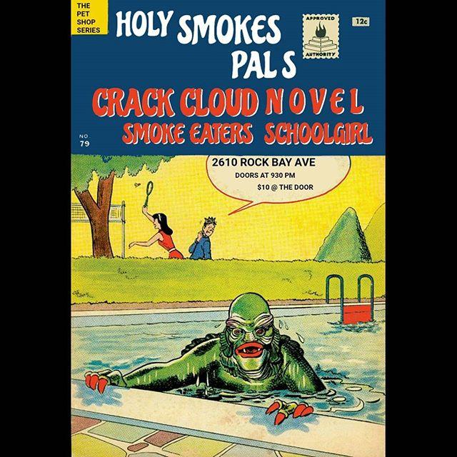 **DONT FORGET** THIS SATURDAY  #yyjevents #yyjmusic #holysmokesmusic #rockbay #grime #seamonsters #artrock #postpunk #dark #trees #thepetshopseries #crackcloud #novel #smokeeaters #schoolgirl